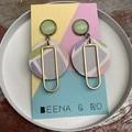 Pastel geometric print earrings
