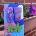 Flower & acrylic earrings
