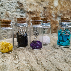 Set of 5 Gemstone Wishing Jars
