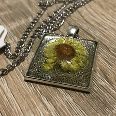 Yellow  Dried Flower in Resin Necklace