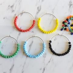 Colorful beaded big hoop earrings , Orange Blue Red Green White Yellow Black
