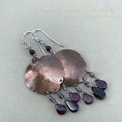 OOAK Etched Copper and Garnet Dangle Earrings