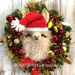 Festive Llama Wreath Handmade Christmas Decor