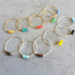 Colourful thin beaded wire ring , Yellow Blue Red White Black Brown Orange Green