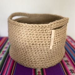 Crochet Jute Basket.