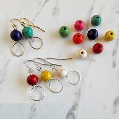 Colourful round stone wire earrings , Whtie Yellow Purple Green Blue Orange Red