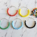 Colorful beaded big hoop earrings , Orange Blue Red Green White Yellow Black