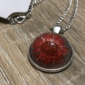 Red  Dried Flower in Resin Necklace