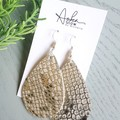 """Teardrop"" Genuine Leather Earrings, Silver Snakeskin  Print"