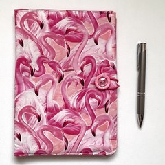 Pink flamingoes A5 Fabric Notebook Cover / Compendium