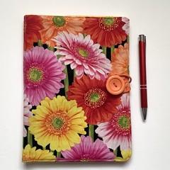Gerbera/daisies A5 Fabric Notebook Cover / Compendium