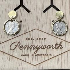 Australian Threepence Stud Earrings