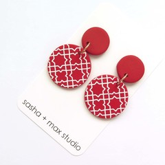 Morocco red round statement drop earrings