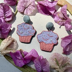 Polymer clay earrings - statement earrings Cupcakes