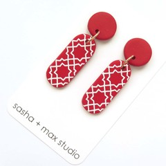 Morocco red and white long statement drop earrings