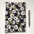 Black /gray/Metallic gold floral A5 Fabric Compendium