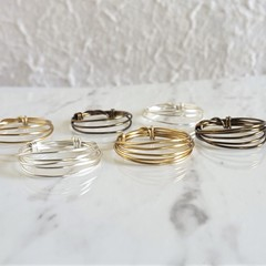 Simple multi layer wire ring , Gold Bronze Silver , Wire wrapped rolling ring