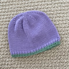Lilac Baby Hat - Hand knitted