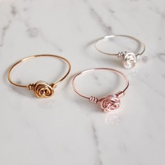 Simple Dainty tiny Rose wire ring , Gold Silver Rose gold , Flower Floral ring