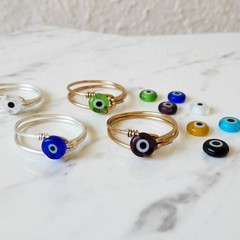 Small Evil eye wire wrapped ring , Blue Yellow Red Green Purple Black Clear