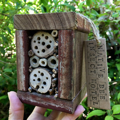 Rustic Insect Hotel for Native Solitary Bees made from Reclaimed Wood