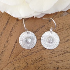 Recycled Silver Daisy earrings made from nature