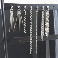 Minimal silver metal chain stud earrings , Fringe & Chain line bar dangling stud