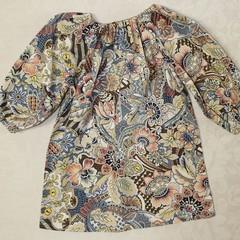Peasant dress - 100% cotton - long sleeve - botanical