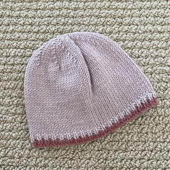 Pink Baby Hat - Hand knitted