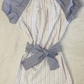 Peasant dress with waist tie - French Provencal blue and yellow