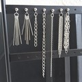 Minimal silver metal chain stud earrings , Fringe & Chain line bar dangling stud
