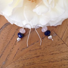 Recycled Silver, semi precious and silver bead earrings