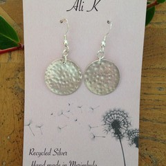 Recycled Silver textured disc earrings