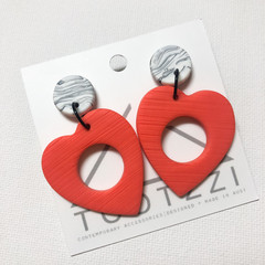 "ALL HEART - ""MARBLE"" Collection - Maxi Heart Double Drop Studs in Peach"