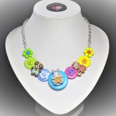 Girl's button necklace - Bunny and Friends
