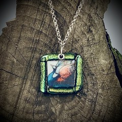 Medium dichroic and decal fused glass pendant