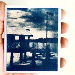 Cyanotype Zine, Artist Book of original cyanotypes, saddle-stitch biniding