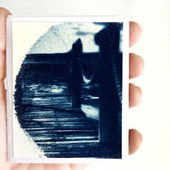 Cyanotype Artist Book, Handmade Zine with Saddle-Stitch Binding