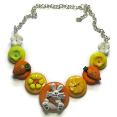 Girls button necklace - Funny Bunny