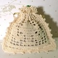 Cream Hand Crocheted Lavender Bag with Yellow 'Gilded' Rose