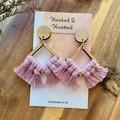 Small diamond dusty pink macrame earrings