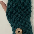 Green peacock chunky  handwarmers ladies or men's texting gloves