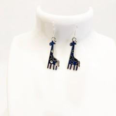 Giraffe earrings, blue, sterling silver, dangling earrings, drop earrings