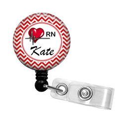Personalised Heart Nurse retractable ID badge reel - 2 colours