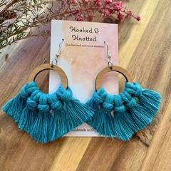 Teal bamboo macrame earrings