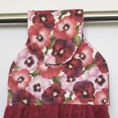 Burgundy/pink pansies Designer Hand Towel
