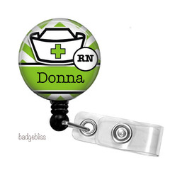 Personalised Nurse retractable ID badge reel - 15 colours