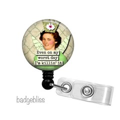 Witty woman retractable ID badge reel
