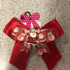 Double layer Santa bow with embellishment