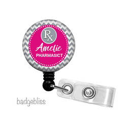 Personalised Pharmacy retractable ID badge reel - 11 colours
